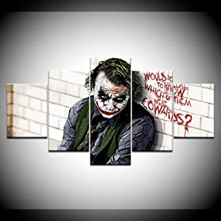 HAIYOUYOU Canvas Painting Batman Joker Dark Knight 5 Pieces Wall Art Painting Modular Wallpapers Poster Print for Living Room Home Decor -size2-With Frame
