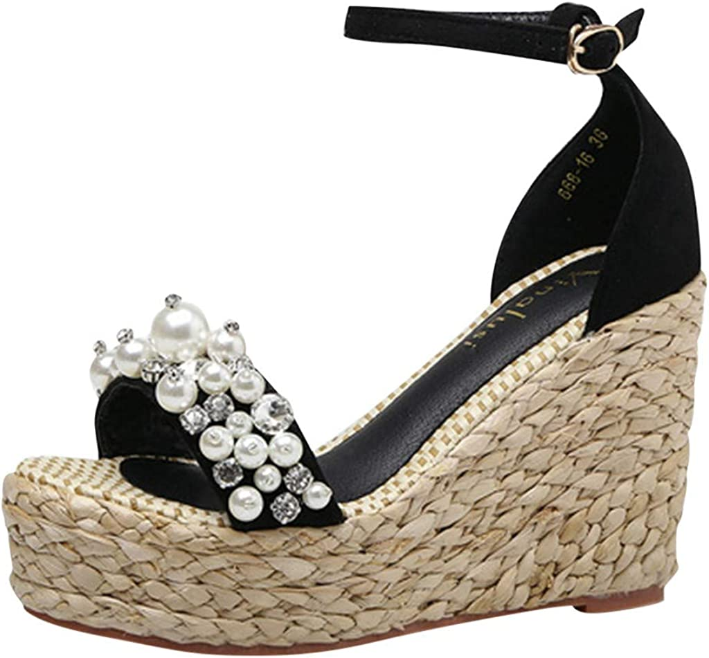 TOPEREUR Heeled Espadrille Wedges Strappy Sandals Womens Peep Toe Faux-Leather Sandals Summer Beaded Strappy Casual Shoes Non-Slip Wide Fit Woven Sole Slides Black