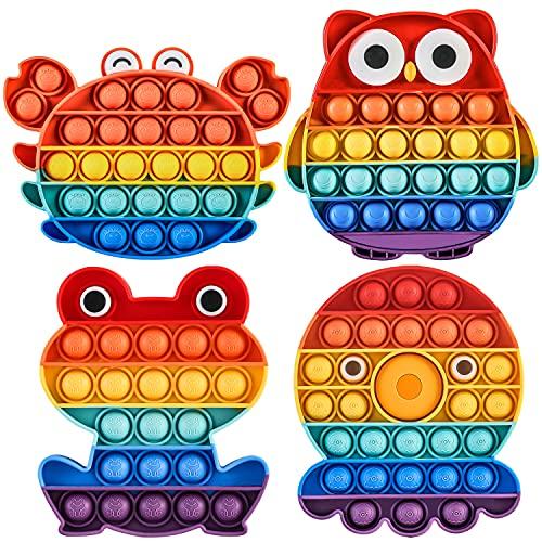 pop it orologio Pop it Fidget Toy Set Popit Gioco Antistress Giocattoli Push Pop Bubble Sensoriale Fidget Toys Kit Multicolore Educativo Giocattolo per Bambini Adulti(4 pezzi Arcobaleno Gufo