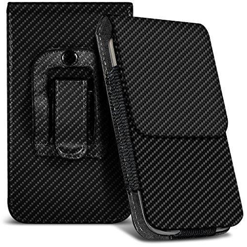 N4U Online® Microsoft Lumia 940 XL Kohlefaser Tasche Gürtelholster