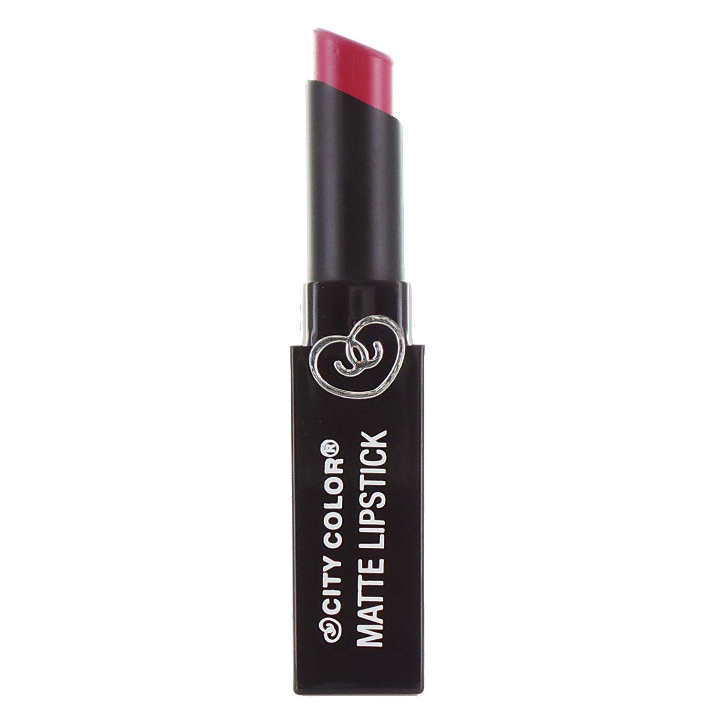 真珠のような講義異形(6 Pack) CITY COLOR Matte Lipstick L0050C - Raspberry (並行輸入品)