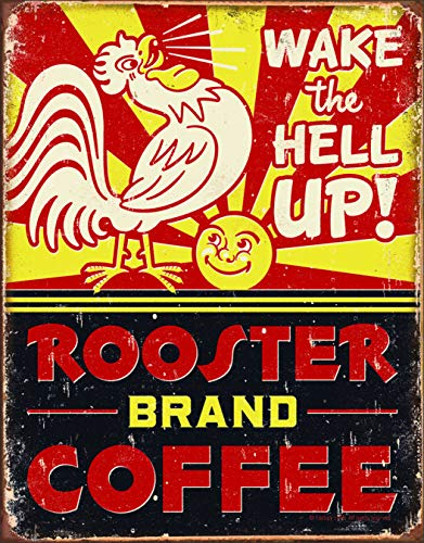 Desperate Enterprises Rooster Brand Coffee Tin Sign, 12.5' W x 16' H