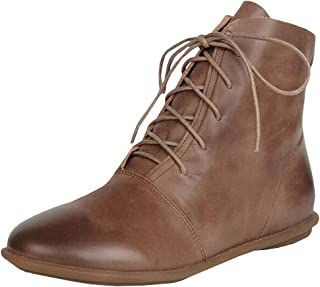 Caitefasoao Womens Lace-up Ankle Boots Low Heel Pointed Toe Soft Faux Leather Vintage Flat Booties Shoes