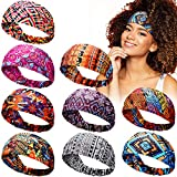 9 Pieces African Headbands Knotted Hairbands Wide Hair Bands African Print Headband Elastic Turban Headscarfs Outdoor Hair Accessories for Women Girls (Chic Pattern)