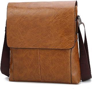 PU Leather Messenger Bag for Men, Crossbody Bag Satchel Shoulder Sling Work Bag Work Briefcase,Orange