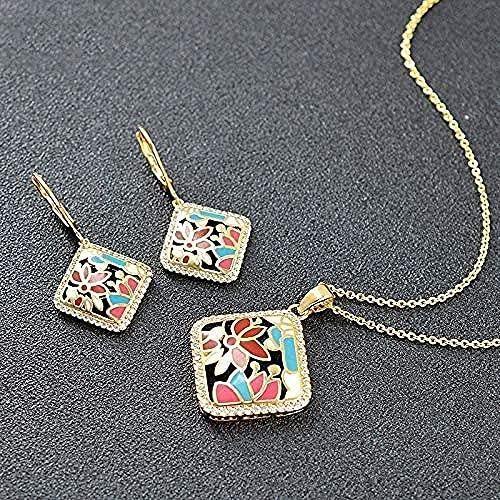NC110 Collar Regalos Moda Cuadrado Joyería de Mujer Pendientes Collar Colgante Zirconia cúbica Joyería de Esmalte para celebración de Aniversario Collar Largo 45cm YUAHJIGE