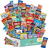 Snack Box Variety Pack (60 Count) Candy Gift Basket for Adults - College Student Care Package - Food Arrangement Chips, Cookies, Bars - Birthday Package for Dad, Men, Women, Boys, Girls, Teens, Kids