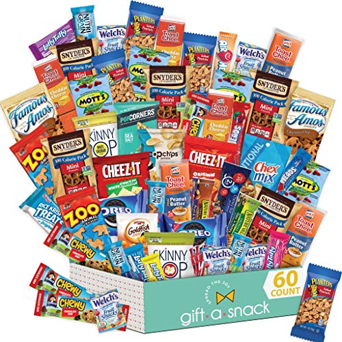 Holiday Snack Box Variety Pack (60 Count) Christmas Candy Gift Basket - College Student Care Package, Thanksgiving, Xmas Food Arrangement Chips, Cookies, Bars - Birthday Treats for Adults, Kids, Teens