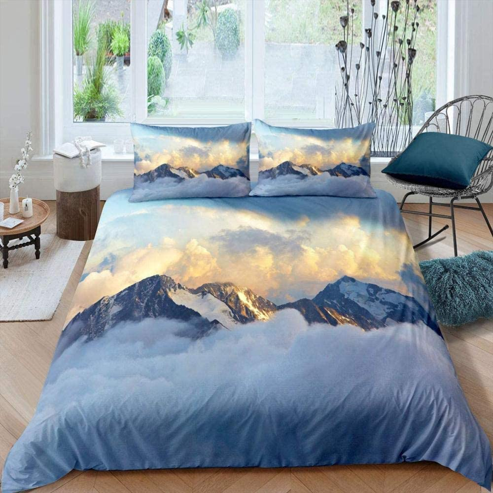 dsgsd Queen Duvet Covers Free Shipping Cheap Bargain Gift Beautiful New arrival Snow Nature L Sunset Mountain