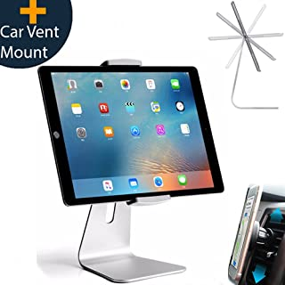 Elegant Adjustable Aluminum Tablet Holder Stand, 360° Rotatable, Desktop Stand for 6 -12.9 inch iPad Pro Air Mini Galaxy Tab Nexus, Tablet Mount for Store Showcase Kitchen Countertop Office Reception