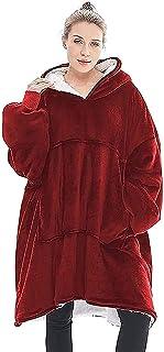 Sudadera con Capucha cálida Manta Suave Vestido suéter suéter con Mangas Terciopelo Manta Gruesa a Cuadros para Mujer, niña, Adulto, Hombre, niño, Bolsillo Grande (Color : Red)