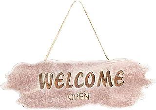 Vosarea Wooden Rustic Welcome Signs Vintage Hanging Welcome Plaque Front Door Decor