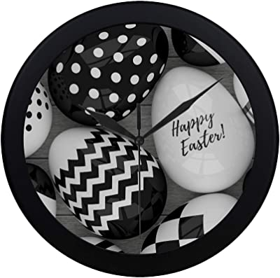 Modern Simple Elegant Easter Eggs With Black And White Patterns Pattern Wall Clock Indoor Non-