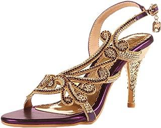 Women Crystal Sandal Heels Summer Shoes Evening Sandals Wedding Dress Strappy Shoes
