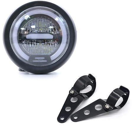 Phare de Moto LED, Distance de Phare Universel de 6,5 pouces avec Support pour Moto Cafe Racer - Lumière Blanche