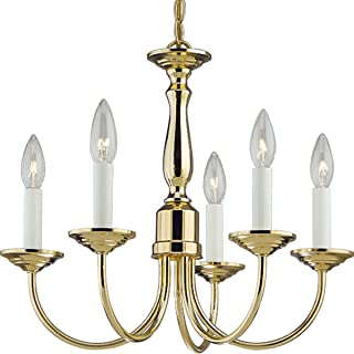 Progress Lighting P4009-10 5-Light Chandelier, Polished Brass
