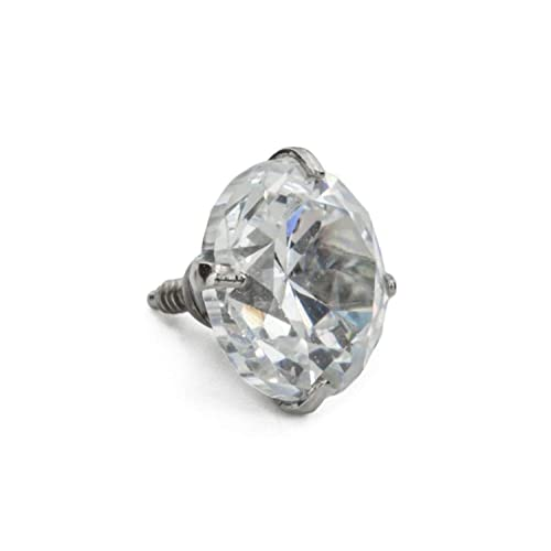 bac00884c TheMaddHatter Dermal Clear Cz ROUND Top Prong Setting 316l Surgical Steel  (14g 1.6mm)