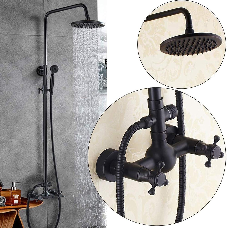 Duschhahn Duschsatz aus Schwarzer Bronze, an der Wand Befestigtes Badezimmer Badewanne Duschhahn Dusche Messing Warm und Kaltwasser Verstellbar Duschsystem