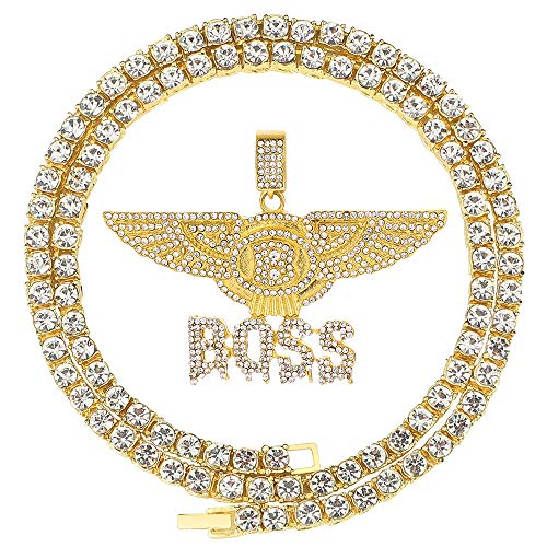 HH Bling Empire Unisex Hip Hop Iced Out Silver Gold Cz Diamond Bubble Dripping Full Name Letters Words Pendant Chain Necklace (B-Boss - Gold, with Tennis)