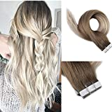 Full Shine 22' Tape in Ombre Hair Extensions Color #8 Light Brown Fading to #60...