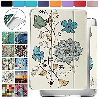 DuraSafe Cases for iPad Mini 3 / Mini 2 / Mini 1-7.9 Inch Protective Durable Shock Proof Cover with Supportive Dual Angle Stand & Honeycomb Pattern Clear Back - Watercolor Flowers