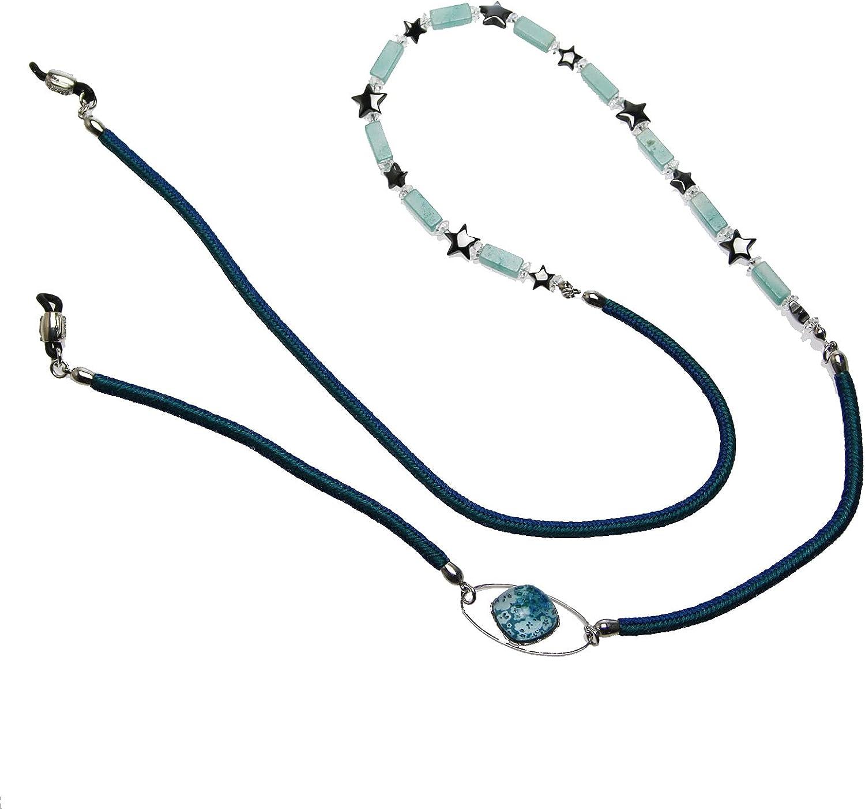 Tamarusan Eyeglass Chain Star hematite Blue Silk Braid Handmade Amazonite
