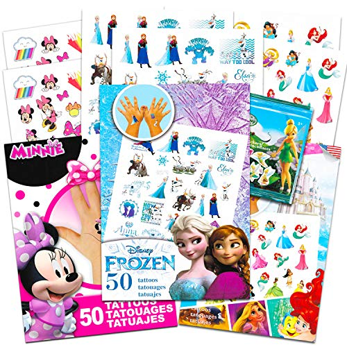 Disney Tattoos Party Favor Set For Girls -- Over 175 Temporary Tattoos Featuring Minnie Mouse, Disney Princess and Moana with Bonus Disney Princess Stickers (20 Disney Temporary Tattoo Sheets)