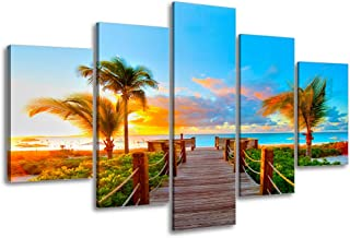 Tropical Beach Painting Decor, SZ 5 Piece Palm Tree Sunset Picture Canvas Wall Art, Ocean Canvas Prints for Living Room, Ready to Hang, 1