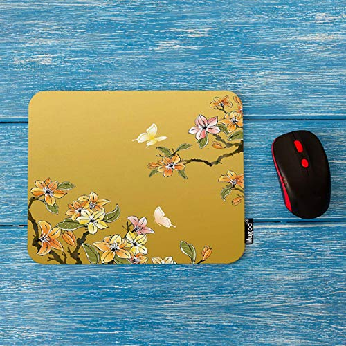 Mugod Mouse Pad Chinese Painting Flower Decor Gaming Mouse Pad Rectangle Non-Slip Rubber Mousepad for Computers Laptop 7.9x9.5 Inches