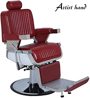 Heavy Duty All Purpose Hydraulic Recline Barber Chair Shampoo 360 Swivel Professional Vintage Salon Spa Chair-Red Color