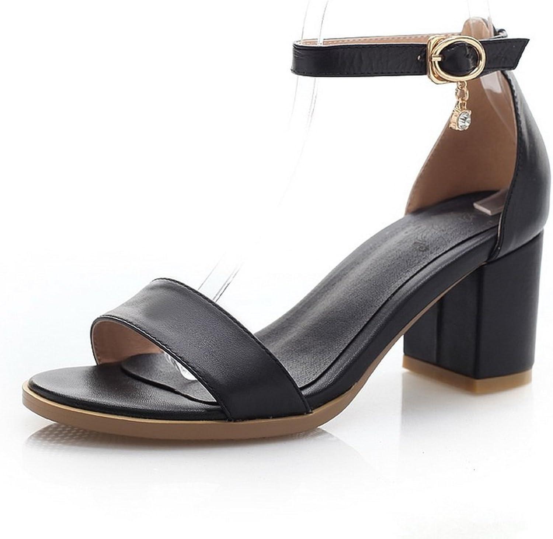 WeiPoot Women's Open-Toe Soft Material Buckle Kitten-Heels Sandals, Black, 36