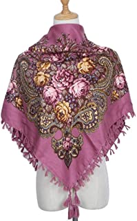 Ethnic Style Square Scarf Cotton Ladies Headscarf Retro Print Multi-Function Four-Side Fringed Shawl,Perfect Accent to Any Outfit (Color : 06, Size : 90 * 90cm)