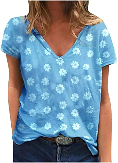 Camiseta Mujer, Verano Moda Manga Corta Casual Talla Grande Margarita Impresión Blusa Basica Suelto Camisa Cuello en V Fiesta Camiseta Tops T-Shirt ...