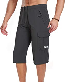 Men's Outdoor Hiking Shorts Quick Dry Stretchy 3/4 Capri Pants Cargo Shorts Male