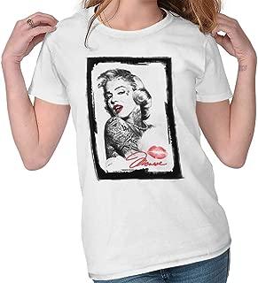 Marilyn Monroe Kiss Tattoo Sexual Model Ladies T Shirt