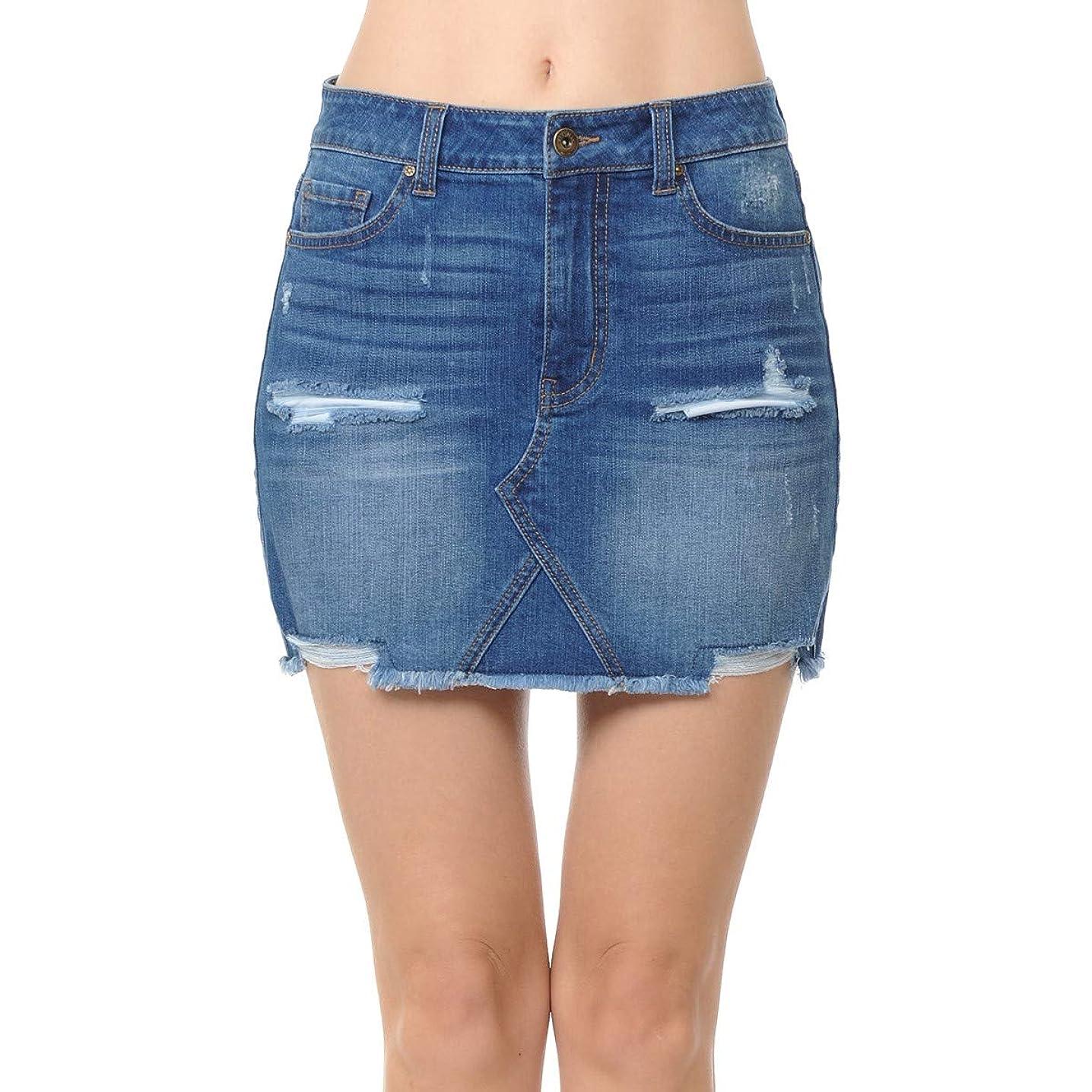 Wax Women's Juniors Mid Waist Mini Denim Skirt Semi A-Line Frayed Hem (Small-Medium Blue)