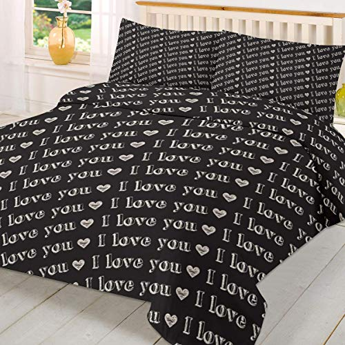 Juego de funda de edredón para el día de San Valentín, 3 piezas, suave funda de edredón cómodo, juego de cama king size Tree Of Love Nature Romance Ilustración