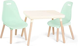 B. spaces by Battat – Kids Furniture Set – 1 Craft Table & 2 Kids Chairs with Natural Wooden Legs (Ivory and Mint)