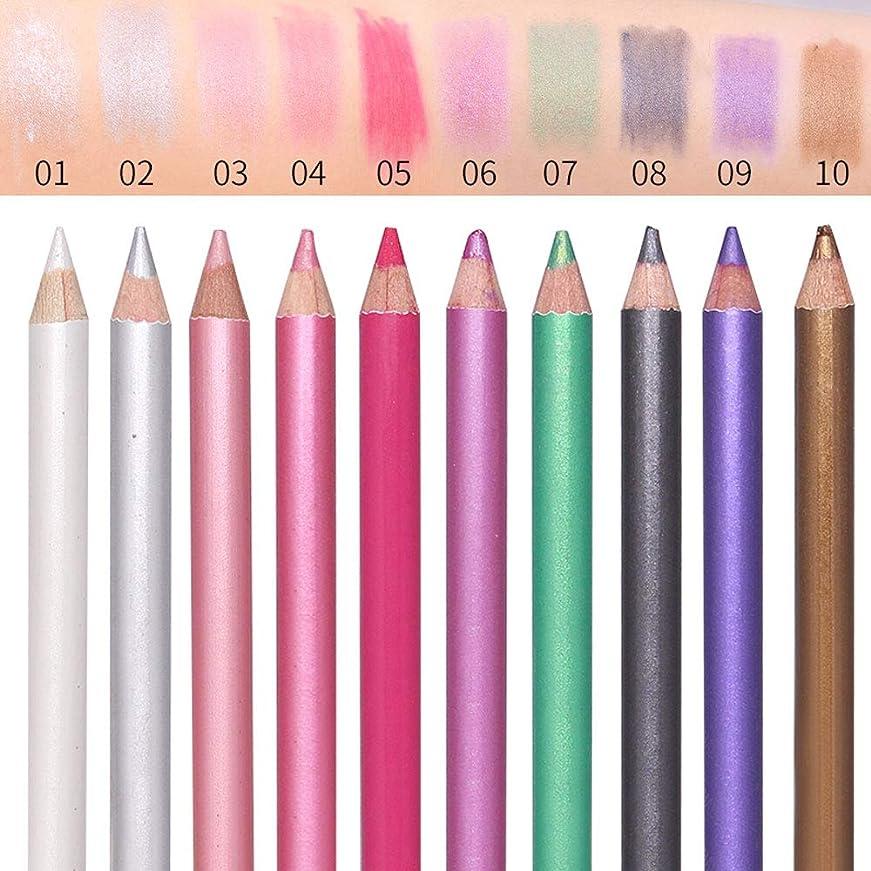 半球対象ゴミ1ピースフェイスアイシャドウペンシルハイライト輪郭ペンスティック防水長続き化粧10色シャドウペンシル付きブレンダー (3)
