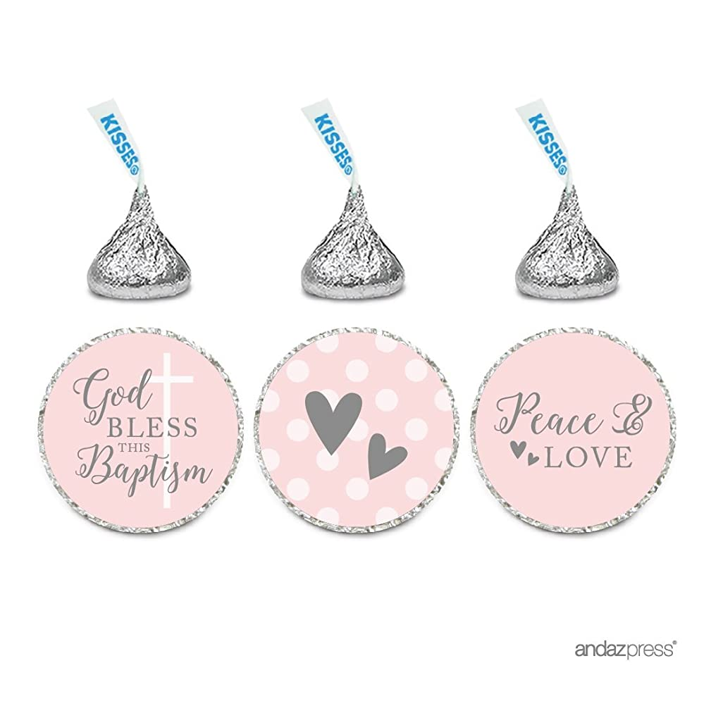 Andaz Press Blush Pink and Gray Baby Girl Baptism Collection, Chocolate Drop Label Stickers Trio, 216-Pack, Fits Hershey's Kisses Party Favors