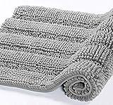 DomoWin Alfombra De Baño, Alfombra de Baño Antideslizante Alfombrillas Absorbente Tapete del Piso de Microfibra de Chenilla Lavable a Máquina Alfombra de Ducha (Gris, 50_x_80_cm)