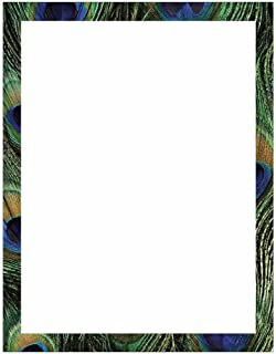 Peacock Print Border Stationery Letter Paper - Wildlife Bird Theme Design - Gift - Business - Office - Party - School Supp...