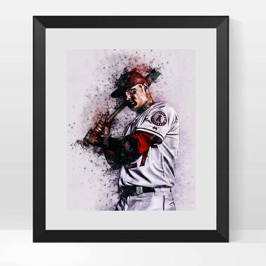 Baseball Poster Sports Player Legend Decor Canvas Bedroom Office Room Gift for Fans (Mike Trout)