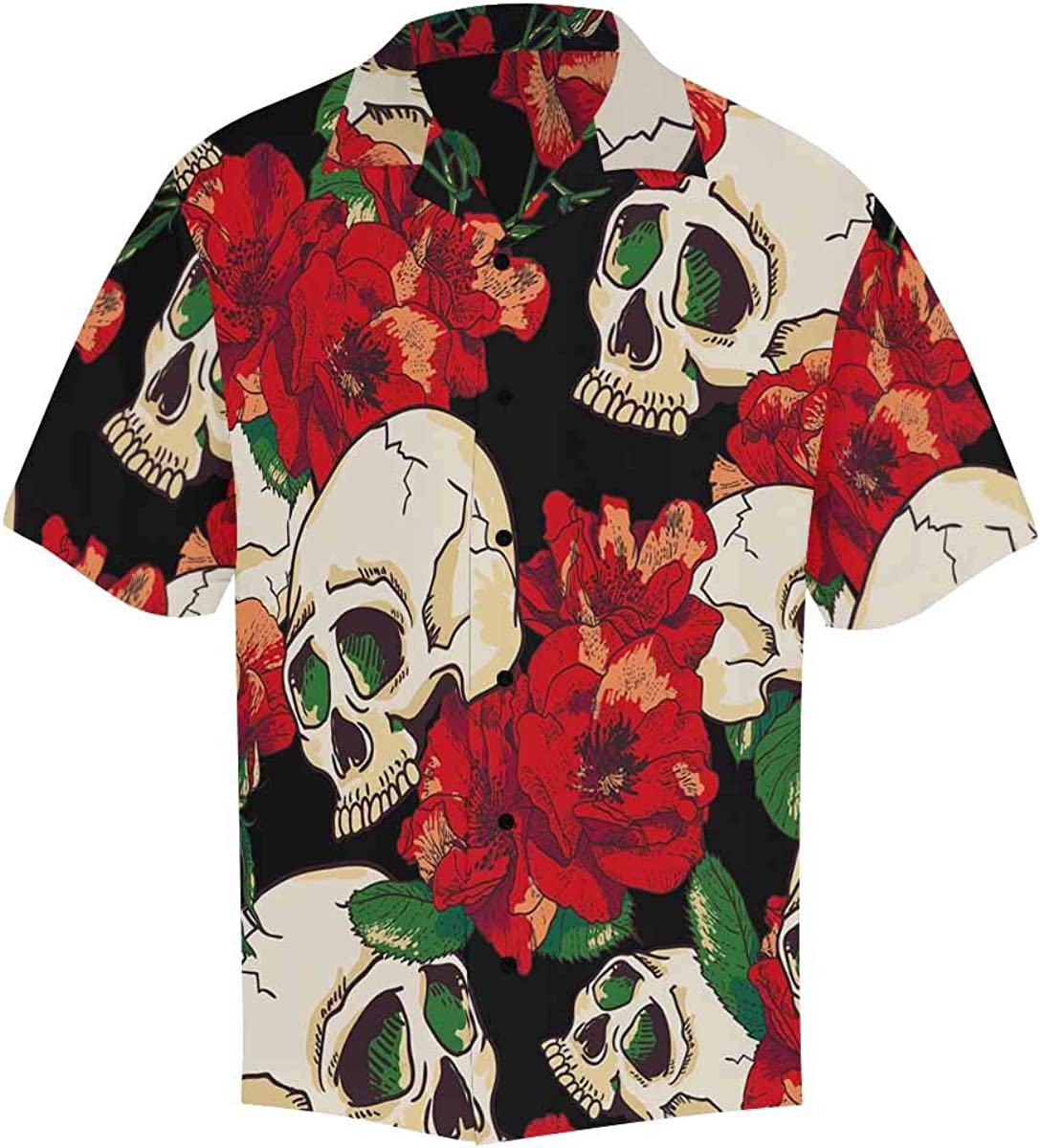 InterestPrint Men's Casual Button Down Limited Special Price Japan Maker New Sleeve Floral Skull Short