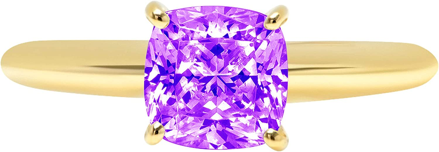 1.45ct Brilliant Cushion Cut Solitaire Natural Purple Amethyst Ideal VVS1 4-Prong Classic Designer Statement Ring Solid Real 14k Yellow Gold for Women