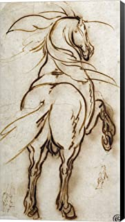 Study of a Rearing Horse by Jacques Callot Canvas Art Wall Picture, Museum Wrapped with Black Sides, 21 x 38 inches