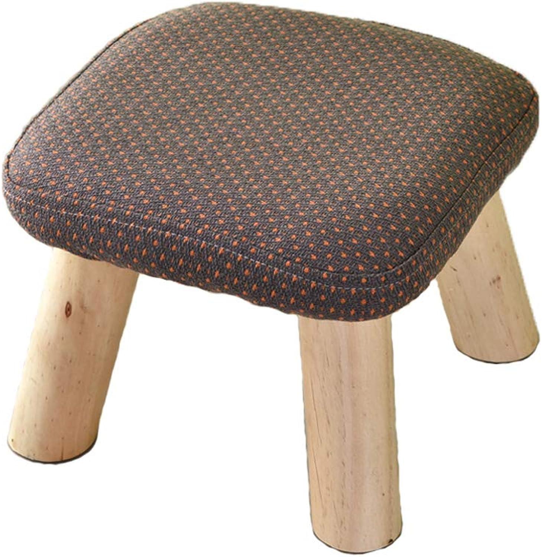 HLJ Fashion Simple Stools Household Tea Table Stool Olid Wood Fabric Sofa Stool Personality Adult Stool