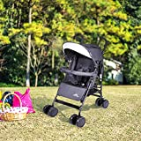 Baby Stroller, Foldable Infant Pushchair with 5-Point Safety Harness, Multi-Position Reclining Seat, Parent and Child Tray, Large Storage Basket, Suspension Wheels, Rose Red