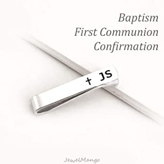 Personalized First Communion Gift, Custom Baptism Gift, confirmation gift, initial tie clip, skinny tie, Regular tie, Personalized Tie clip, Custom tie pin, Keepsake Date, Cross, jewelmango