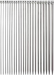 Ensemble d'aiguilles à tricoter à pointes simples Ensemble d'aiguilles droites pour pull en acier inoxydable Beginer , 22P...